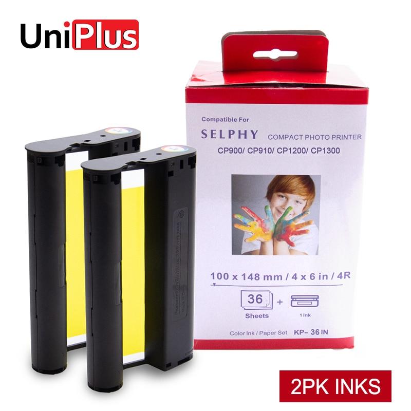 UniPlus 2pk tinta para Canon Selphy CP1300 CP1200 CP1000 de la impresora de la foto KP 108IN KP-36IN No papel de cartucho de tinta de la nave de Alemania