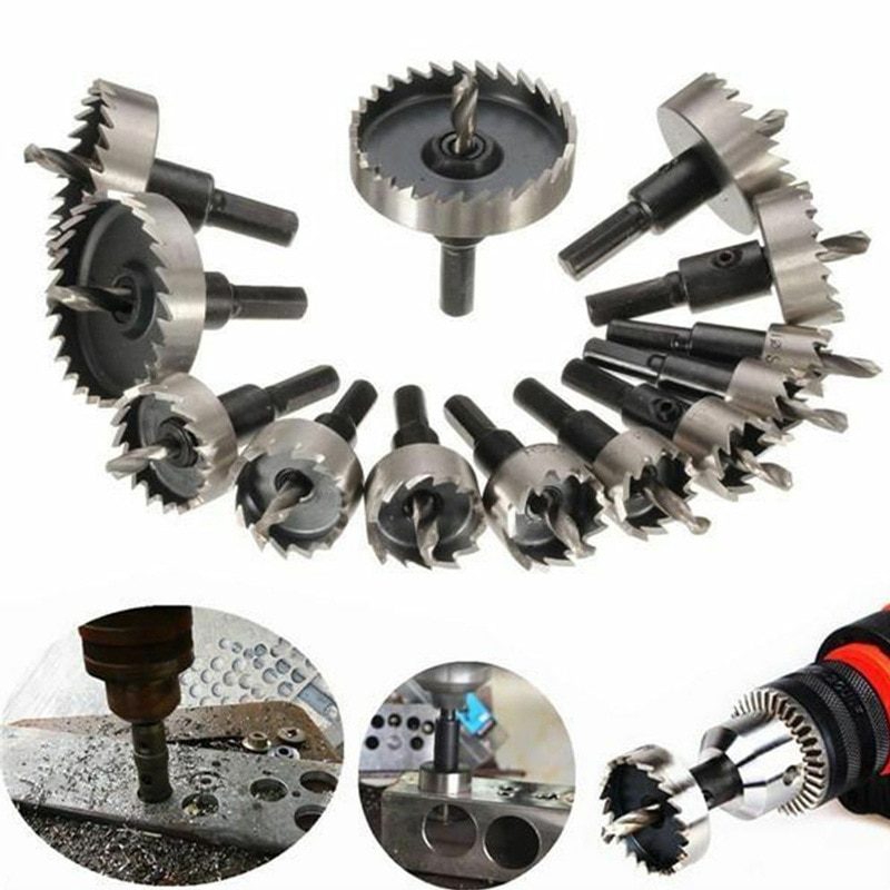 5-15pcs 16-53mm Carbide Tip HSS Drill Bit Hole Saw Set Stainless Steel Metal Iron Plastic sheet Alloy Punch Woodworking Tools