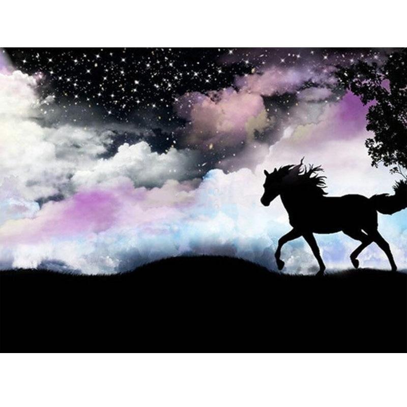 Алмазная вышивка ручной работы камни в форме ромба/круглый лошадь Алмазная вышивка крестиком на рисунке, Животные картина Стразы Алмазная ...