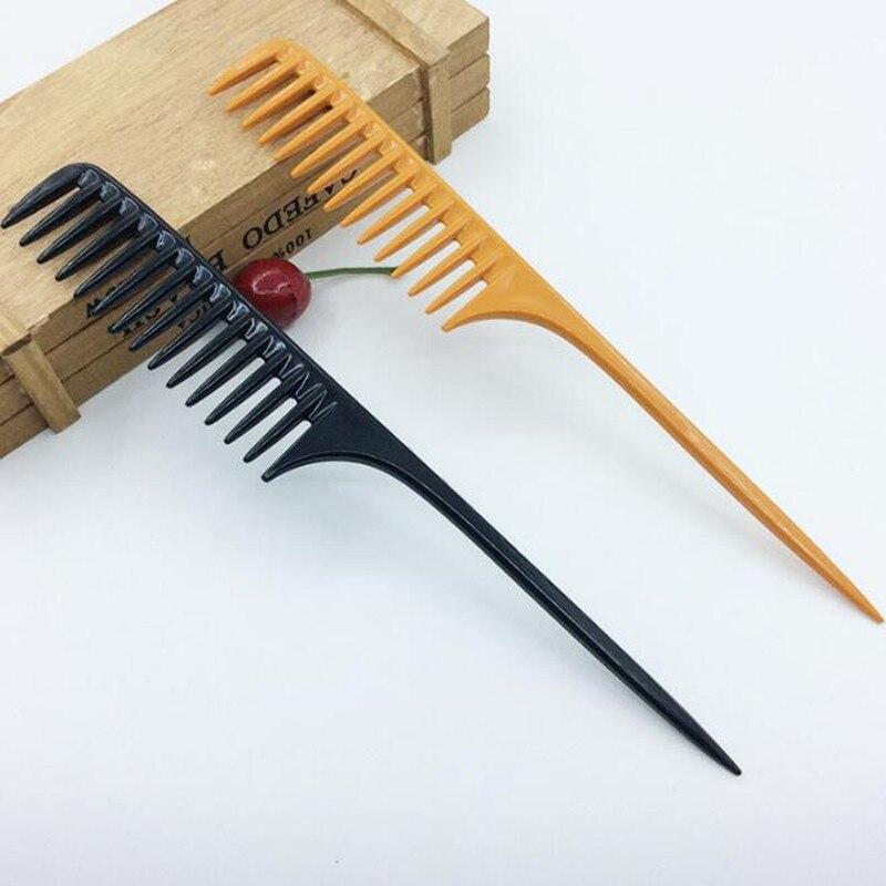 1 pieza, 2 colores, peine profesional para la cola de la punta para peluquería, Sección de barbería, cepillo para el pelo, herramienta de peluquería DIY, peines de dientes anchos
