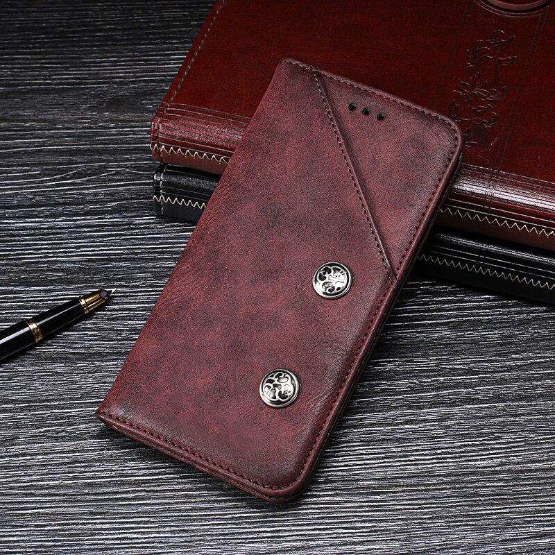 For Vivo Y19 Case Luxury Retro Rivet Wallet Flip Leather Capa Case for Vivo Y19 Phone Cover Accessories