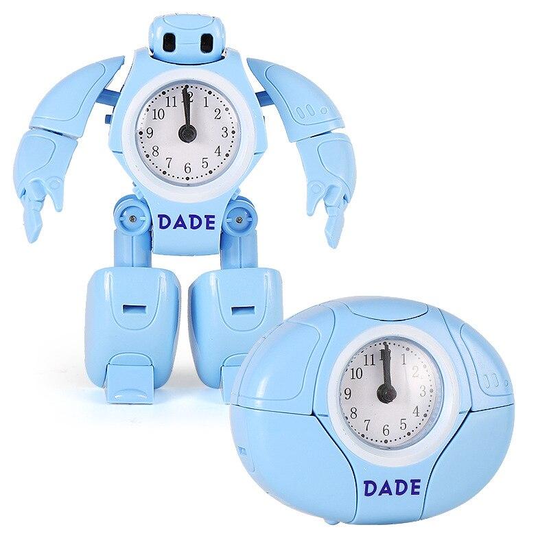 Reloj despertador creativo de dibujos animados para niños, Robot que se transforma...
