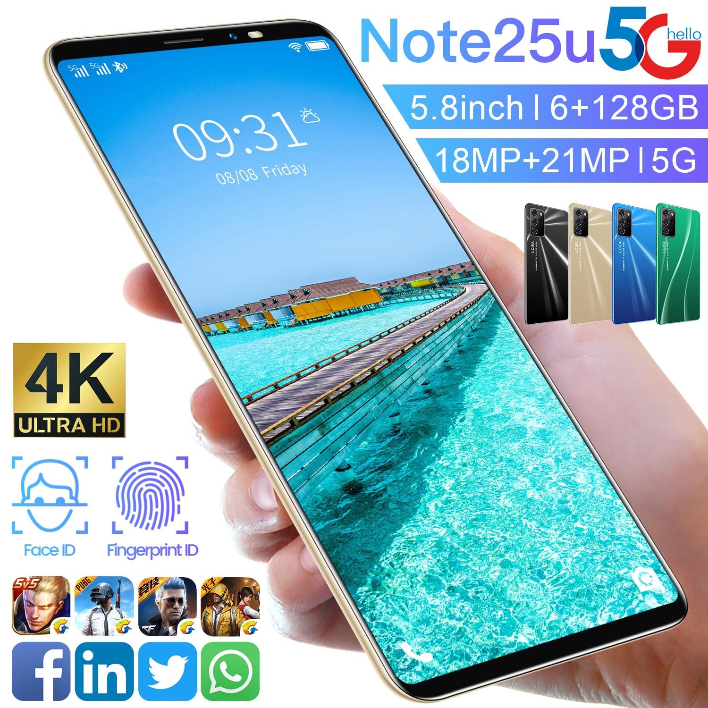 New Arrival 2021 Galxy Note25U 4GB 64GB Dual SIM Smart Phone MTK6895 Face ID 5.8 Inch 8 Core 18+21MP Cheap Mobile Phone Global