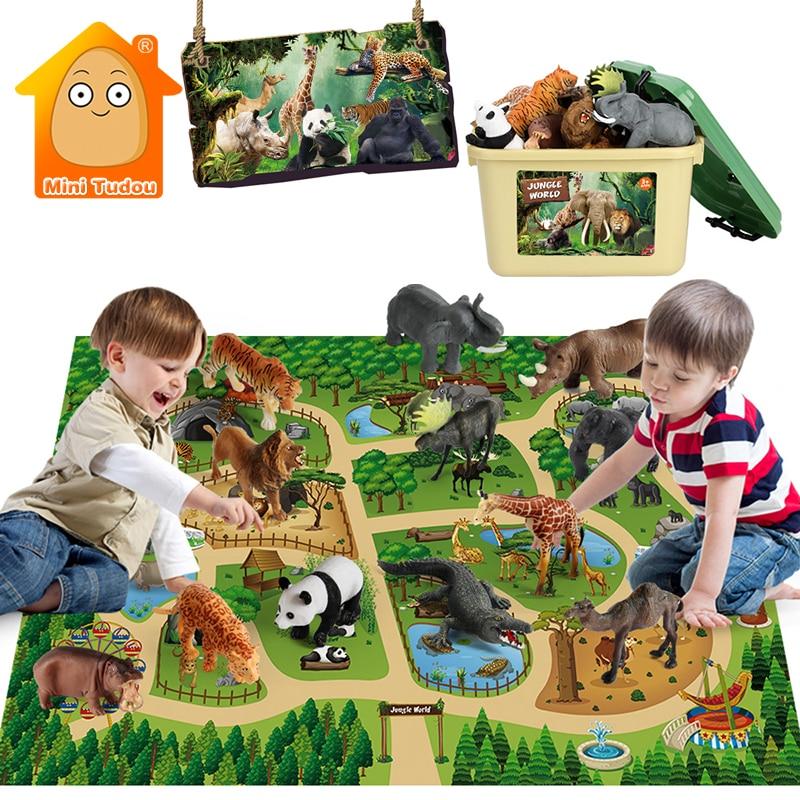 Детский игровой коврик, животное, джунгли, зоопарк, панда, Лев, тигр, жираф, коллекционная одежда, карта, фигурка, набор, имитация игрушки для ...