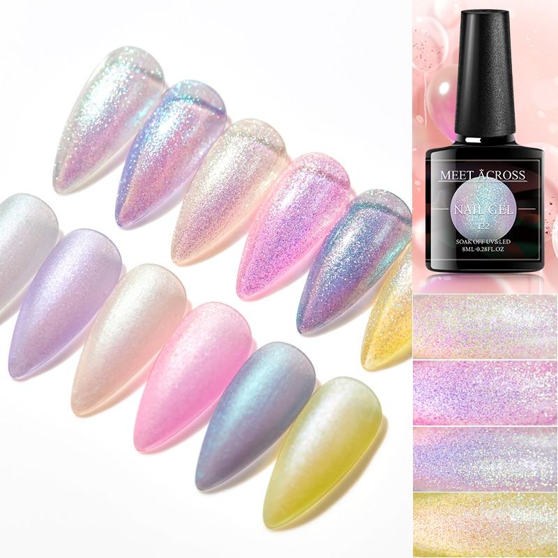 MEET ACROSS Gel Nail Polish Nails Shiny Color Soak Off UV Gel Varnish Semi Permanent UV Gel Need Base and Top Coat Nail Art