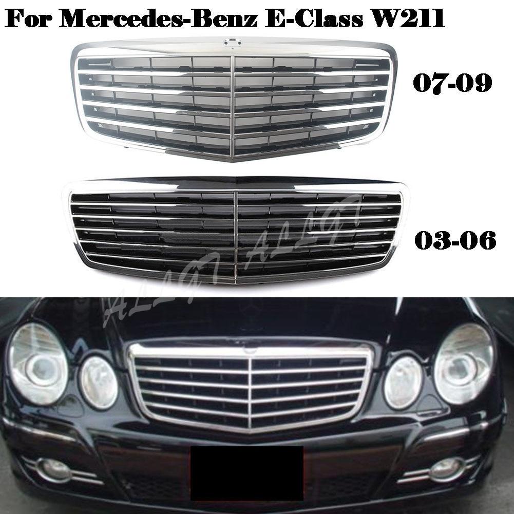 Передний гриль Центральная решетка капота бампер для Mercedes-Benz E-Class W211 E200 E240 E320 2003 2004 2005 2006 2007 2008 2009 хром