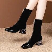 2020 elastic short boots woman mid calf boots rhinestone heel women autumn shoes square toe female footware front zipper black