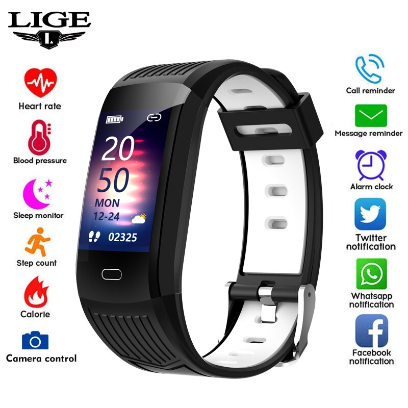 LIGE New Men Smart Watch Fitness Tracking Smart Wristband Heart Rate Monitoring IP68 Waterproof Wome