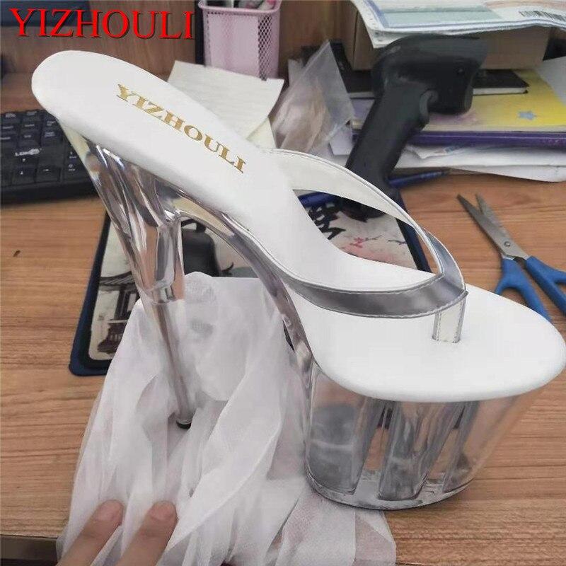 Zapatos de escenario con 20 cm de altura para niña, chanclas, zapatillas delgadas sexis transparentes de la Reina