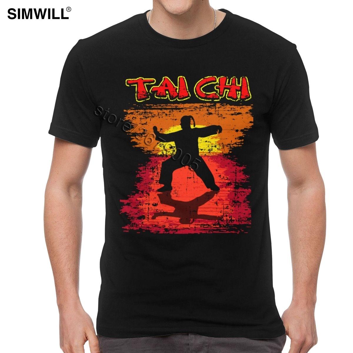 Ретро Мужская хлопковая футболка Tai Chi Chuan с короткими рукавами Taiji Quan, китайская футболка с изображением кунг фу, футболка для фанатов, одежда