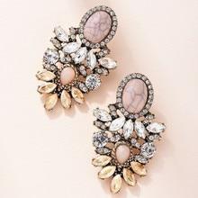 Rosa Stein Kristall Blume Tropfen Ohrringe für Frauen Mode Gold Strass Ohrringe Moderne Schmuck Geschenk
