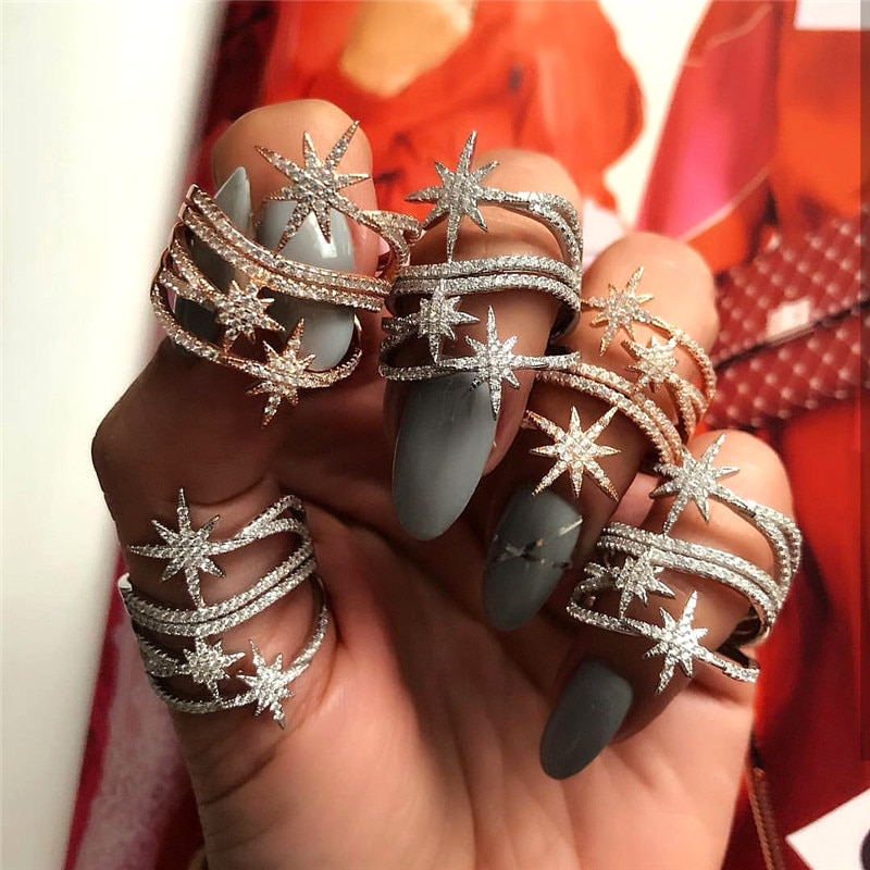 Trendy Personality Hot Five Pointed Star Design Cubic Zirconia Jewelry for Woman Rings Party Wedding Dress Accessories CRP2108