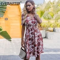 everafter v neck floral print draped dress women sexy high waist a line midi dress casual lady chic beach holiday summer dresses