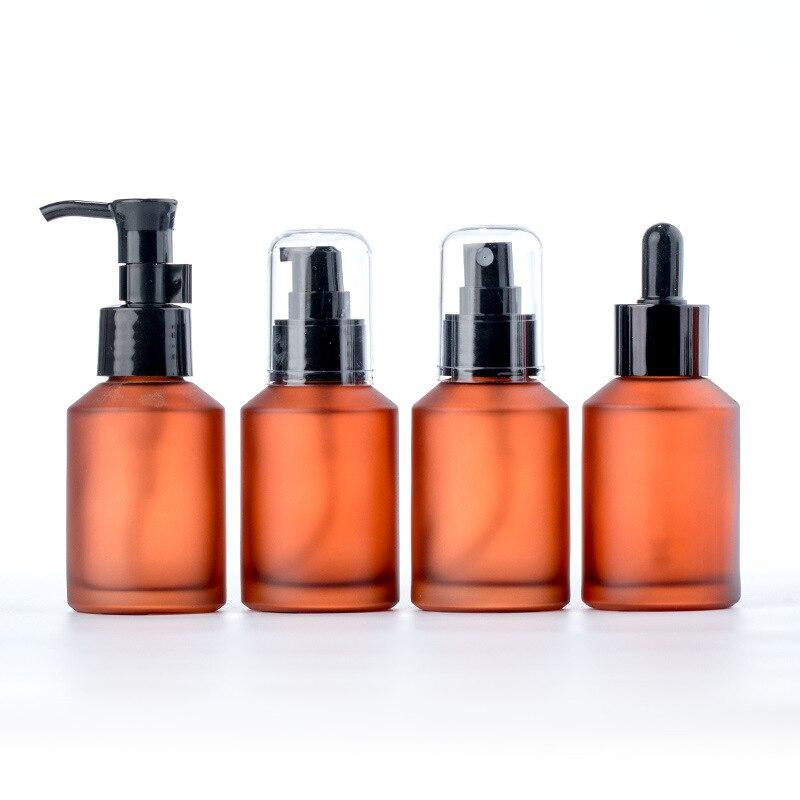 1 Uds 30ml 50ml 75ml botella de Spray de vidrio de cuidado de la piel y maquillaje recargable marrón de la botella de cabeza de plástico botellas de Spray de Perfume