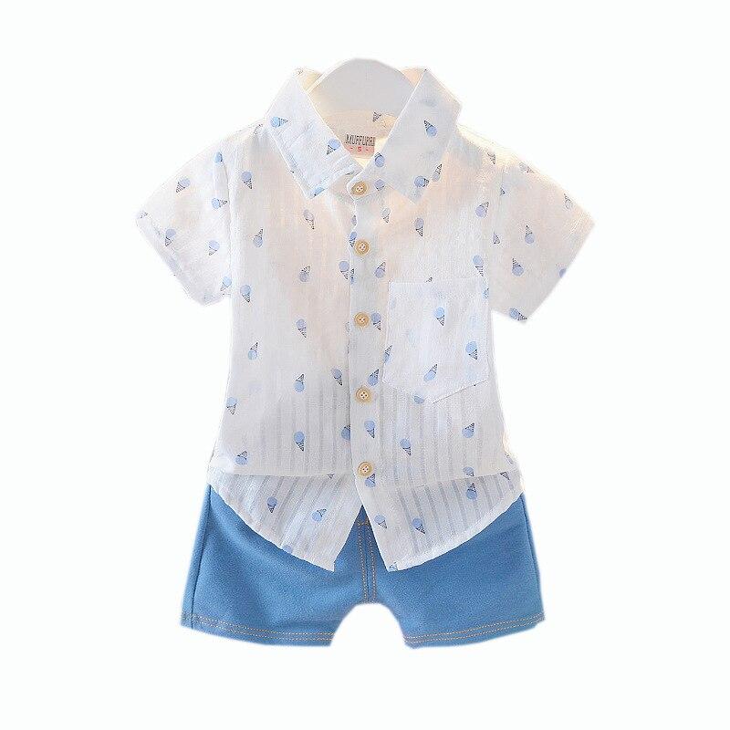 Verano 2019 nuevo estilo coreano ropa para niños de estilo mediano y pequeño hombre bebé helado camisa duan xiu tao algodón Lino puede abrir