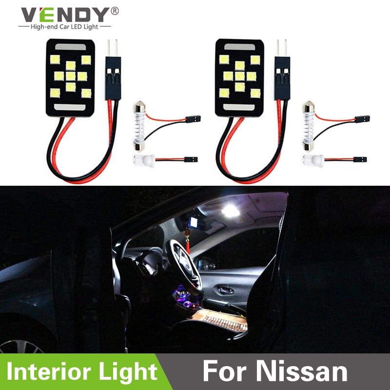 2pcs LED Panel Light Interior Map Dome Trunk Bulb Lamp For Nissan Qashqai Tiida New Teana SYLPHY Juke Xtrail Almera NV200 Altima