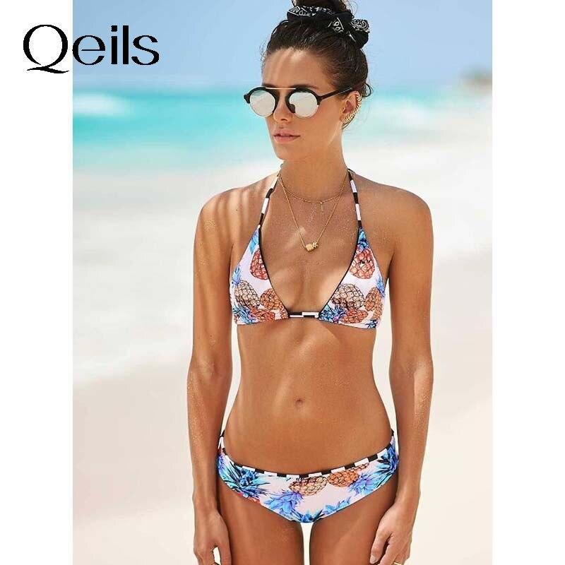 Qeils جديد مجموعة البكيني 2021 مثير ضمادة ملابس النساء ملابس السباحة منخفضة الخصر ثوب السباحة بحر الأناناس طباعة Biquini الإناث