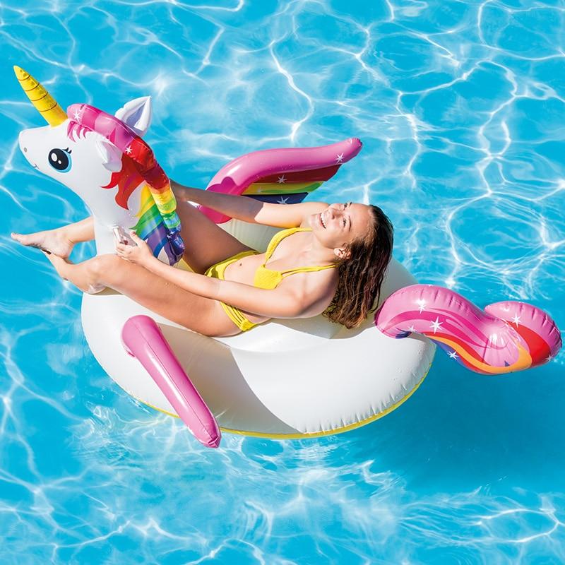 intex cama flutuante de unicornio para adultos brinquedo para nadar piscina unicornio