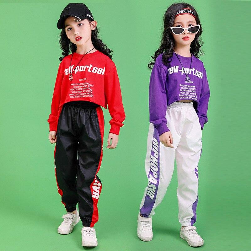 Одежда для мальчиков, костюм для хип-хопа, спортивный свитер с принтом, кроп-топ, футболка, для девочек, неофициальных Штаны, платье в стиле д...