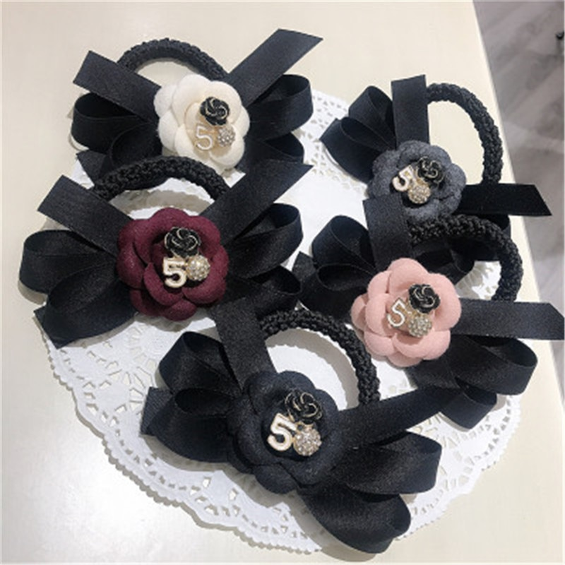 Women Scrunchies Hair Ties Elastic Rubber Bands Girl Fabric Camellia Flower Knot Korean  Head Accessories Handmade Wholesale women elastic hair bands rubber tie girl acrylic cherry bow knot dot korean accessories scrunchie headbands wholesale sets
