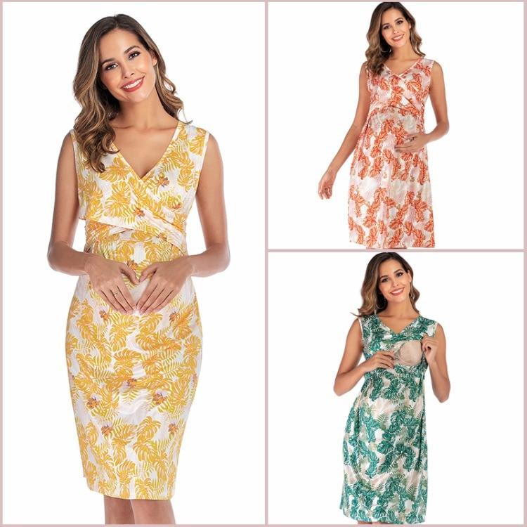 Eleange-فستان حمل بنمط الأزهار ، ملابس عصرية مع أحزمة مطبوعة للحوامل