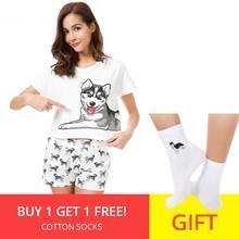 Conjunto de pijama estampado robusto para mujer, conjunto de 2 piezas, Top corto + Pantalones cortos sueltos, pantalones cortos de cintura elástica, estampado de perro, pijama de salón S73104
