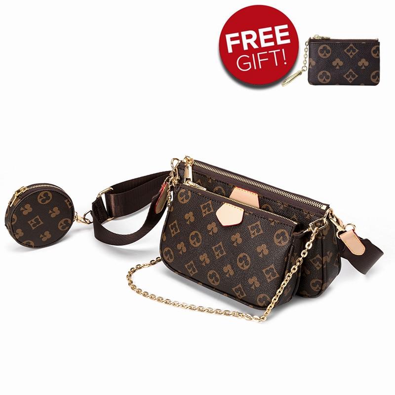 Famous Brand Bag Luxury Crossbody Bag 3-in-1 Vintage Handbag PU Leather Tote Bags Fashion Majhong Ba