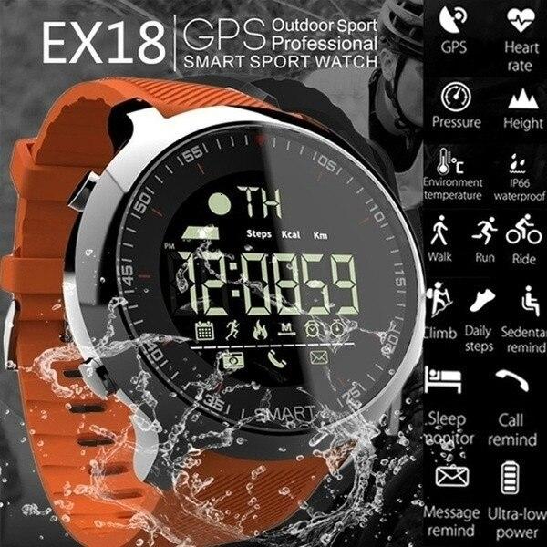 Reloj inteligente EX18 Sport 5ATM podómetro impermeable rastreador de mensajes recordatorio bluetooth para natación al aire libre hombres GPS reloj inteligente