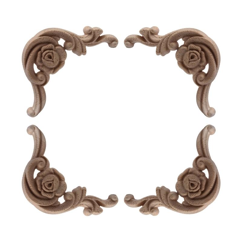 Decoración exquisita tallado líneas de tallado apliques de madera Calcomanía para madera Rosa Oval flor muebles de madera esquina puertas escaparate