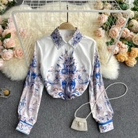 2021 womens spring autumn retro chic printed blouse turn down collar single breasted long sleeve slim shirt top for women