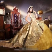 gold cheap quinceanera dresses ball gown sweetheart tulle appliques beaded puffy sweet 16 dresses