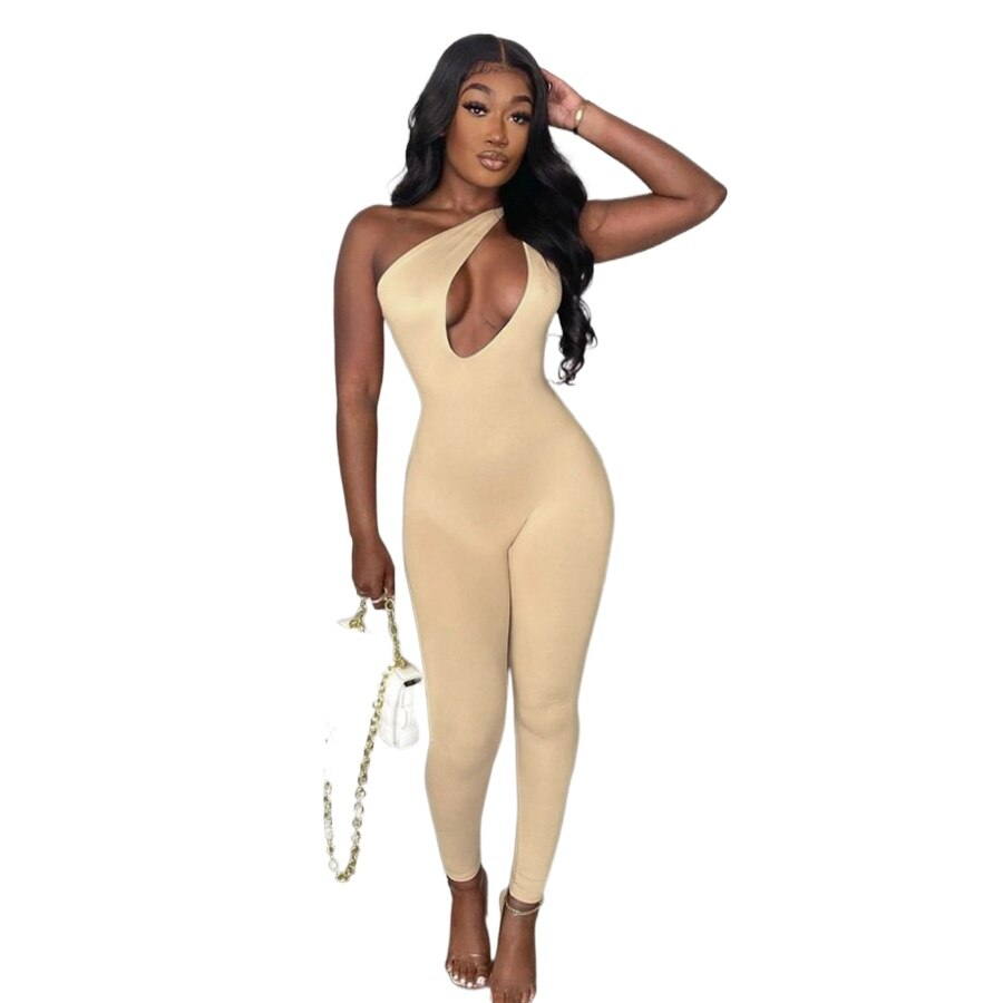 One Shoulder Sexy Cut Out Rompers Womens Jumpsuit 2021 Streetwear Solid Backless Active Wear Skinny Slim Jumpsuits Summer novainspo paisley pattern cut out romeprs womens jumpsuits green skinny sporty baddie clothes summer backless jumpsuit fashion