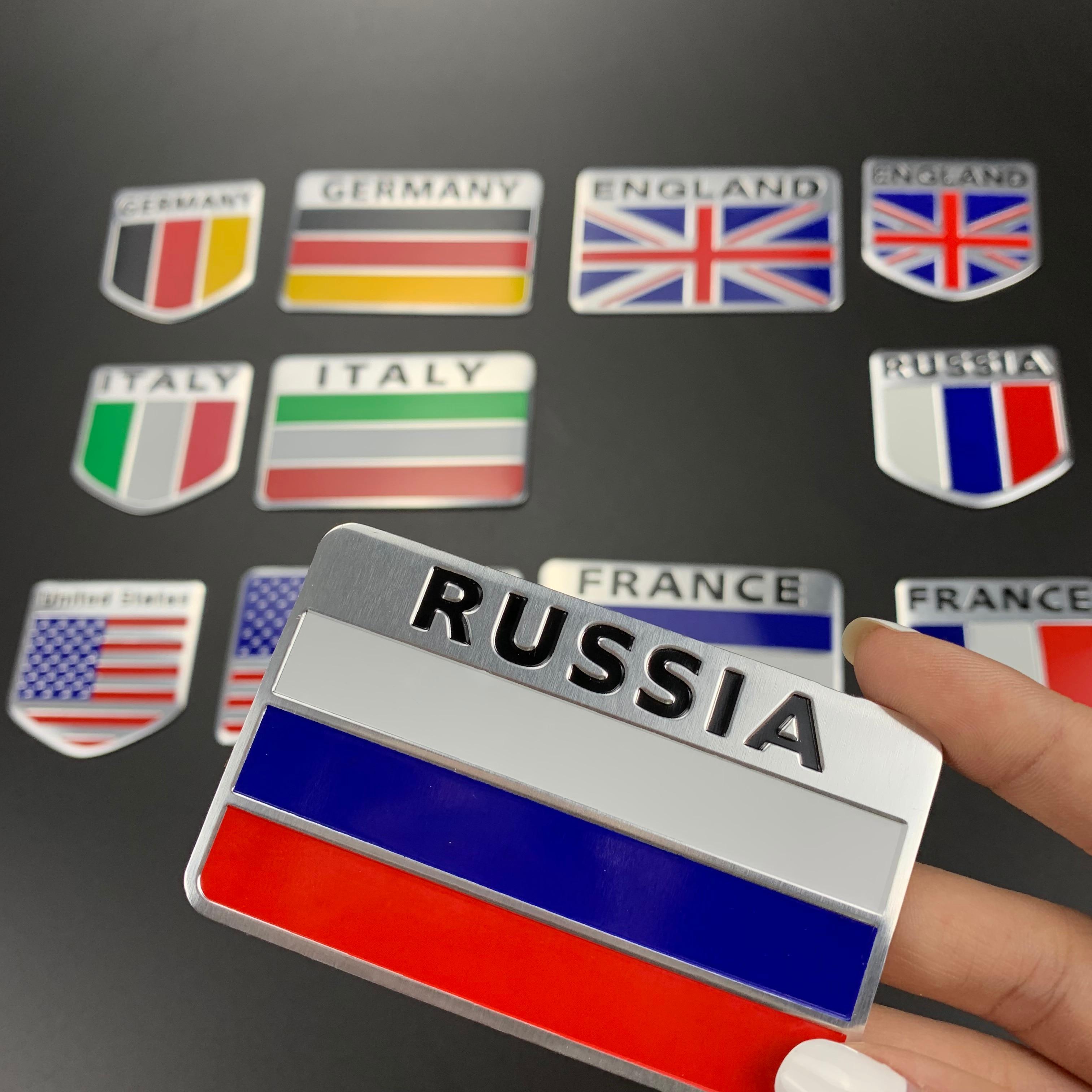 Logo de bandera nacional de estilismo de Metal 3D, pegatinas pequeñas para...