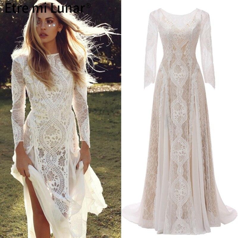 Get 2021 Muslim Wedding Dress Lace Vintage O-Neck Mermaid Bridal Gowns Simple Court Wedding Dress Cheap WD30638