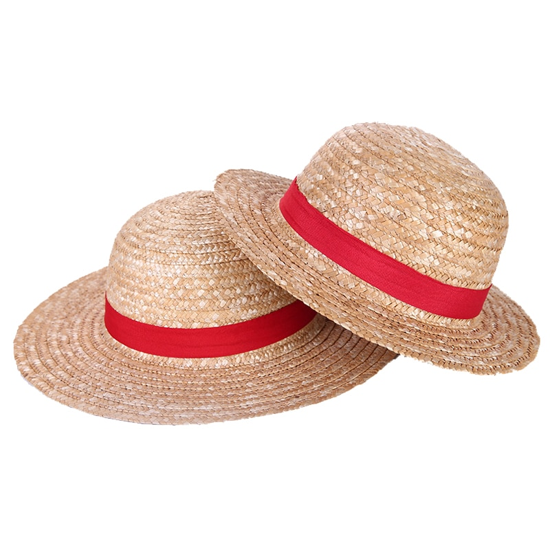 Boy Girl One Piece Cap Straw Hat Neck String Luffy Flat Hats Cosplay Japanese Cartoon Props Hat Kid Red Stripe Beach Hat недорого