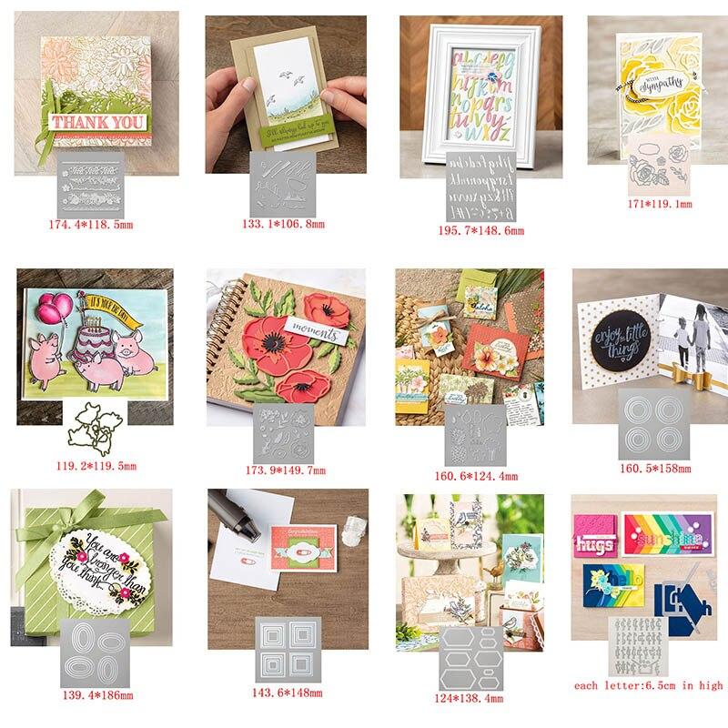 Plantillas de corte de Metal de Marco rectangular, de A Z, para hacer tarjetas de papel, DIY, decoración de álbum de recortes, álbum de fotos artesanal