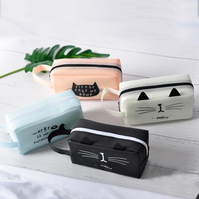 1 шт. креативные школьные пеналы Kawaii Cat, сумки милая гелевая ручка, большая емкость, коробка, сумка, офисные и школьные принадлежности