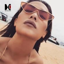 SHAUNA Mode Candy Farbe Frauen Sonnenbrille CatEye retro Damen Shades Rot Getönt Objektiv UV400