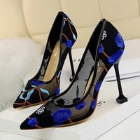 european and american high heeled shallow mouth pointed flower embroidery lace mesh hollow sexy nightclub shoes