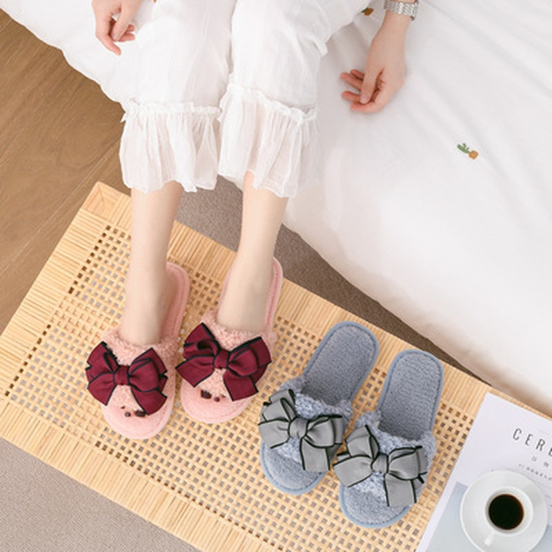 Winter Home Women Fur Slippers Fashion Bow-Knot Warm Plush Ladies Fluffy Shoes Cozy Open Toe Indoor Fuzzy Slides Female