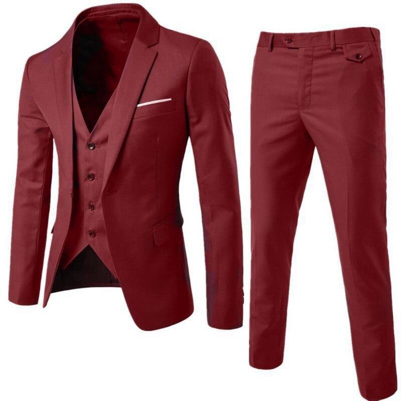 2021 Classic Men's Fashion Slim Suits Men's Business Casual Groomsman Three-piece Suit Blazers Jacket Pants Trousers Vest Sets