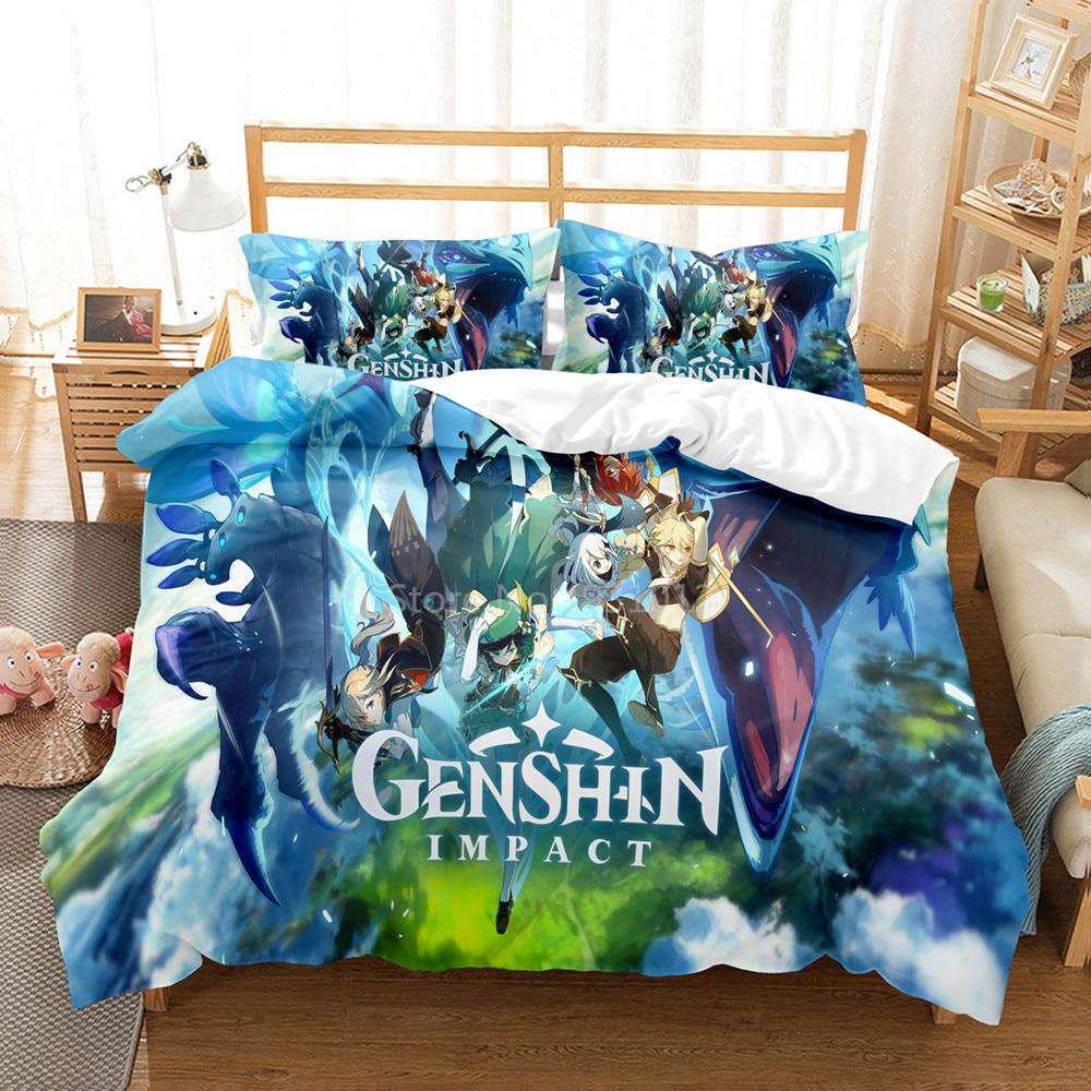 طقم سرير Genshin تأثير لعبة الاطفال ثلاثية الأبعاد حاف مجموعة غطاء المعزي أغطية سرير التوأم الملكة الملك حجم واحد دروبشيبينغ الكرتون