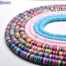 """8mm 15 """"Lose Runde Scheiben Fimo Mixed Farbe Polymer Clay Perlen für Armband, Der Mädchen Diy Zubehör Perles perlen großhandel"""
