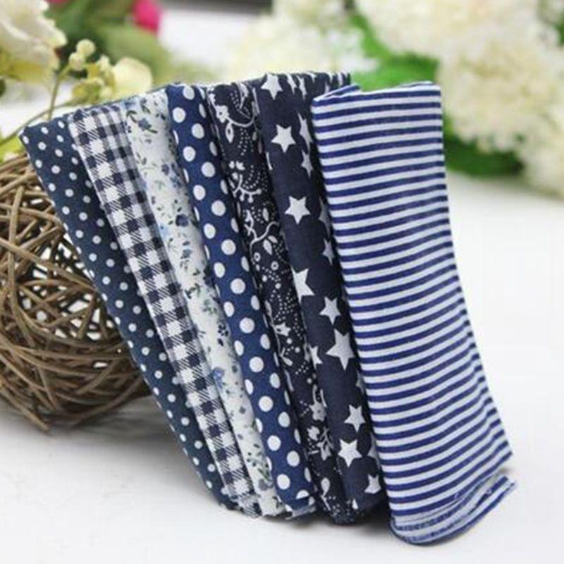 Navy blue patchwork cotton fabric floral handmade diy plain weave sewing material 50*50cm 7pcs/pack JA111