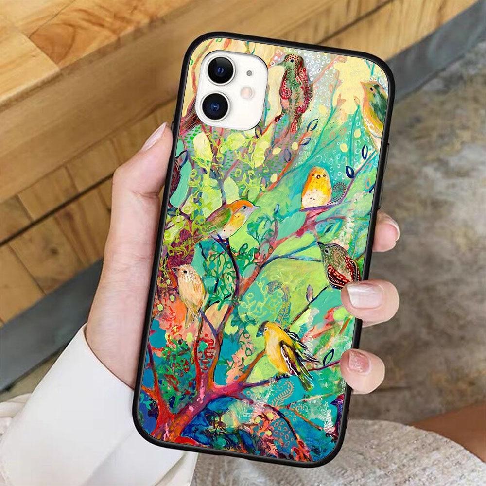 Pássaro refúgio caso de telefone para iphone 11 pro x xr xs max 6 7 8 plus samsung s8 s9 s10 s20 a10 a50