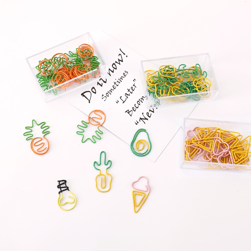 TUTU 10 pcs/lot Creative Kawaii pineapple ice cream bulb Shaped Metal Paper Clip Bookmark Stationery Escolar Papelaria H0281