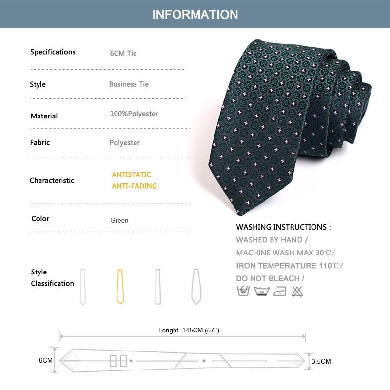 New Design Gentlemen Luxury Ties High Quality 6CM Slim Tie for Men Business Suit Work Party Neckties Male Green Neck Tie