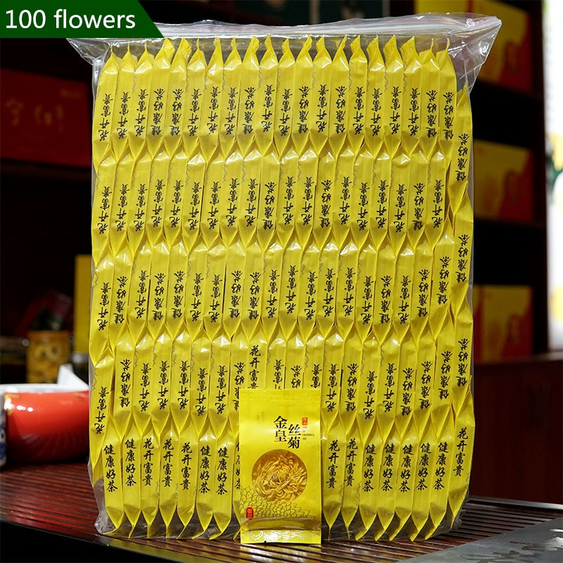 حقيبة الشاي أقحوان الشاي الذهب الحرير الملكي سوبر قسط Tongxiang أقحوان الشاي يترك النار طعام صحي 100 أكياس
