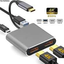 Док-станция 4 в 1 с USB Type-C на двойной HDMI-совместимый конвертер USB 3,0 PD док-станция концентратор 4K адаптер кабель для телефона Macbook ноутбука тв