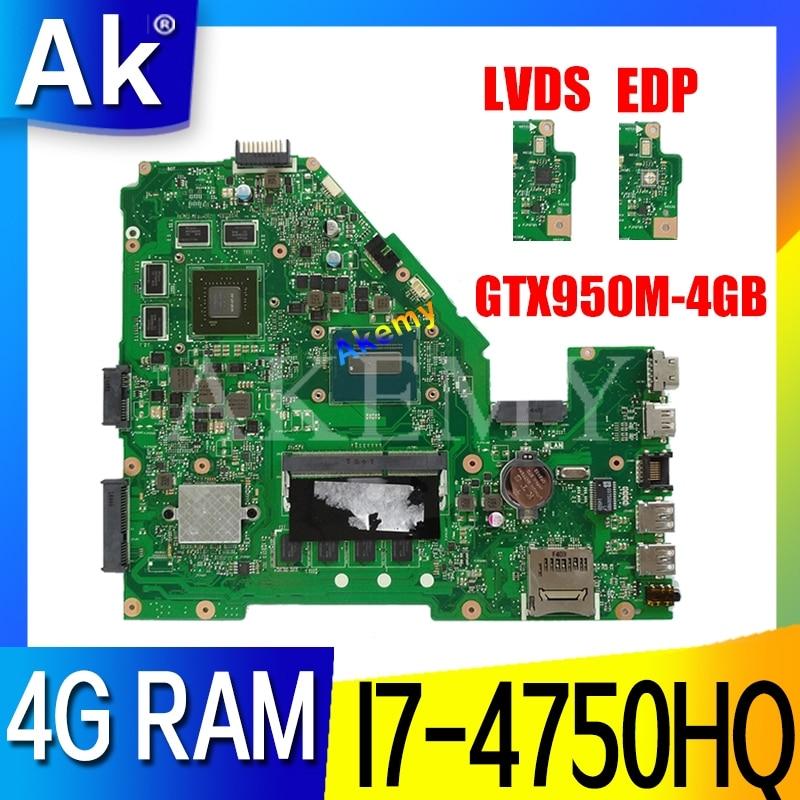 X550JX 4GRAM/I7-4750HQ CPU (GTX950M-4GB) Motherboard Para Asus X550JK X550J A550J FX50J W50J K550J X550JX Laptop Maniboard